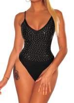 Shawhuwa Spaghetti Strap Sleeveless V Neck Bodysuit Black Silky Silver Rhinestone Bodysuit for Women