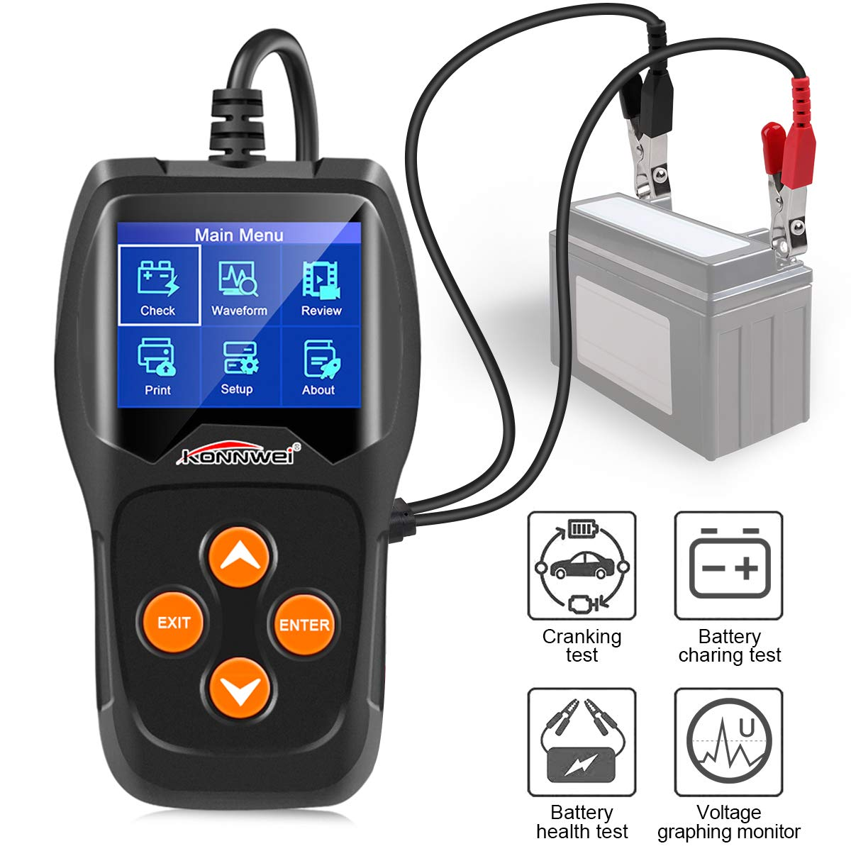 KW600 Automotive Battery Tester 12V Auto Battery Load Tester 100-2000CCA Car Battery Load Analyzer and Alternator Tester for Car,Boat,Motorcycle