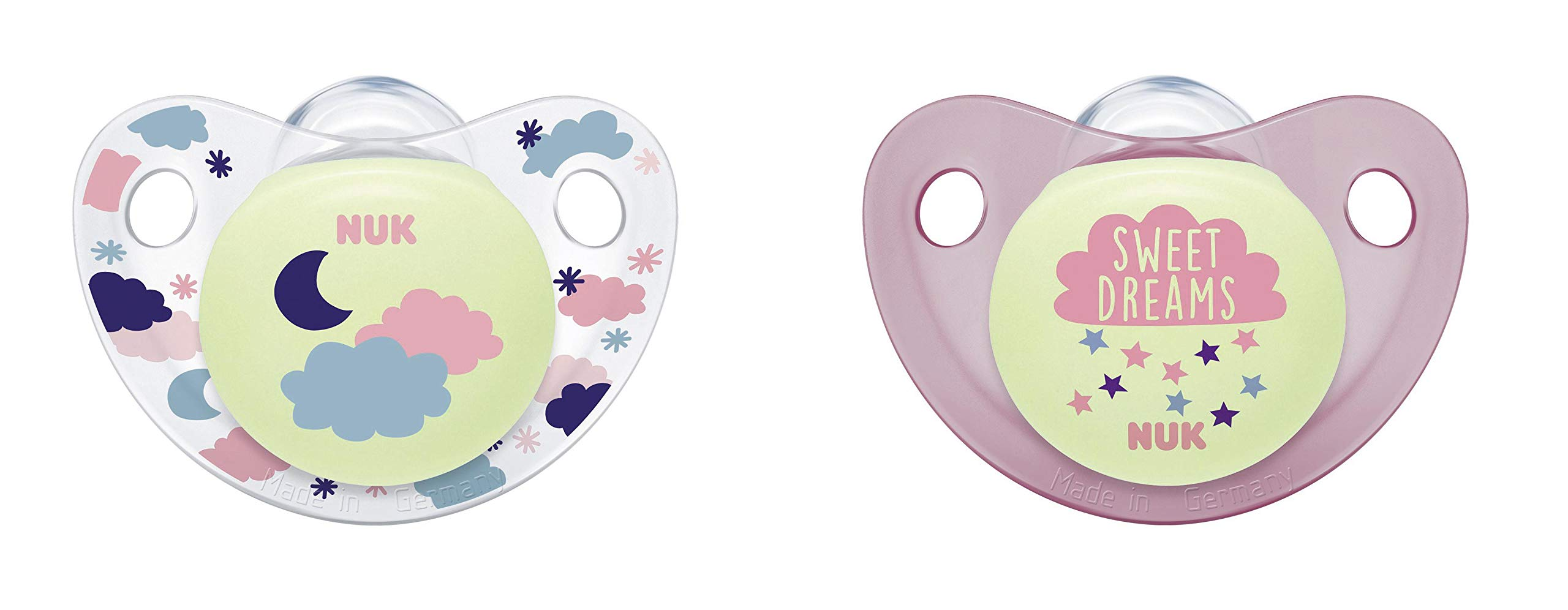 NUK Cute-as-a-Button Glow-in-The-Dark Orthodontic Pacifiers, Girl, 0-6 Months, 2-Pack