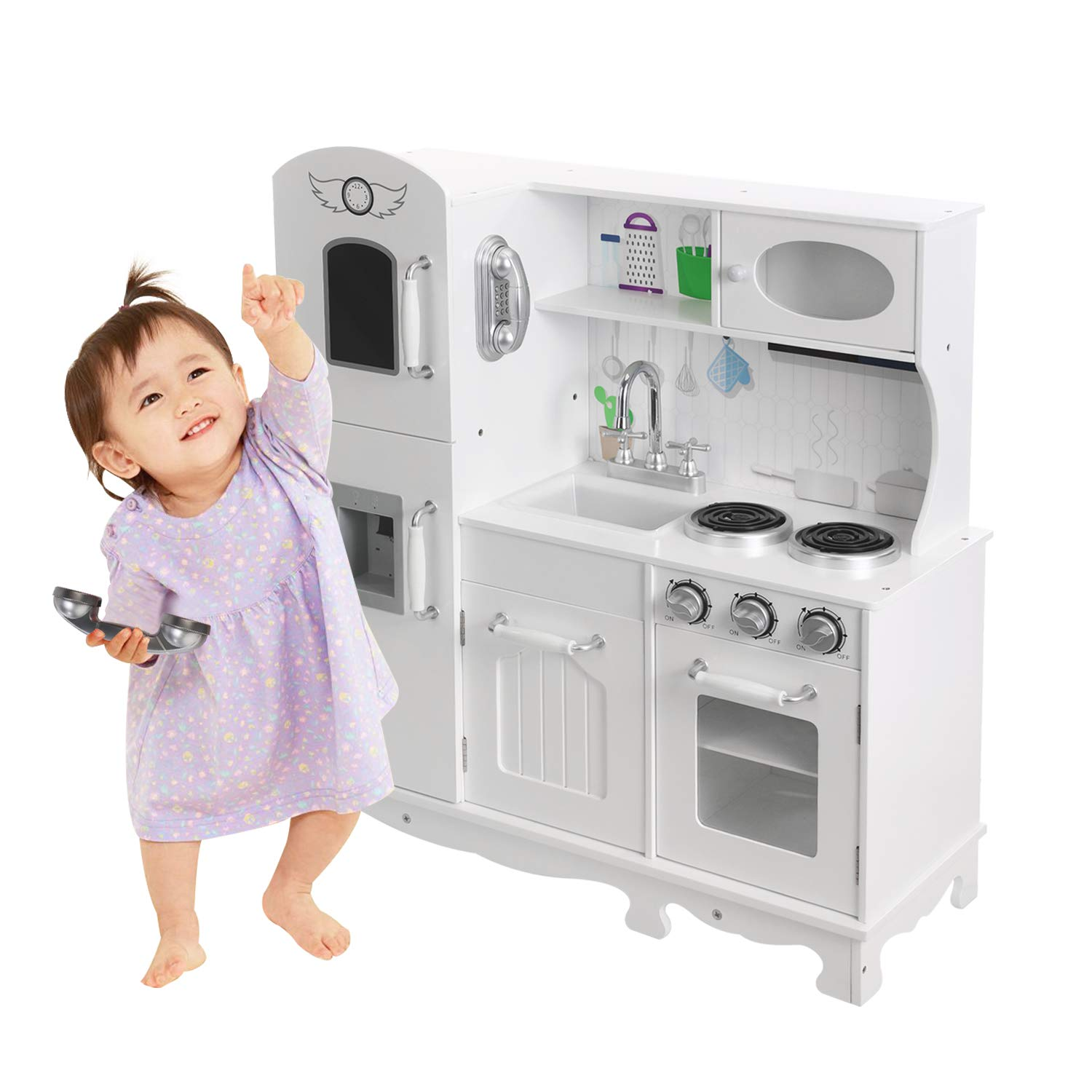 HOMFY Kids Play Kitchen for Toddlers Wooden Toy Kitchen Sets Pretend Kitchen Set with Sounds - White (Refrigerator Kitchen)
