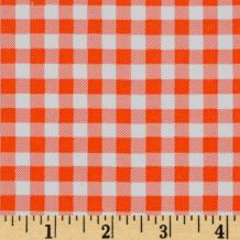 Oilcloth International Oil Cloth Gingham Orange Fabric By The Yard