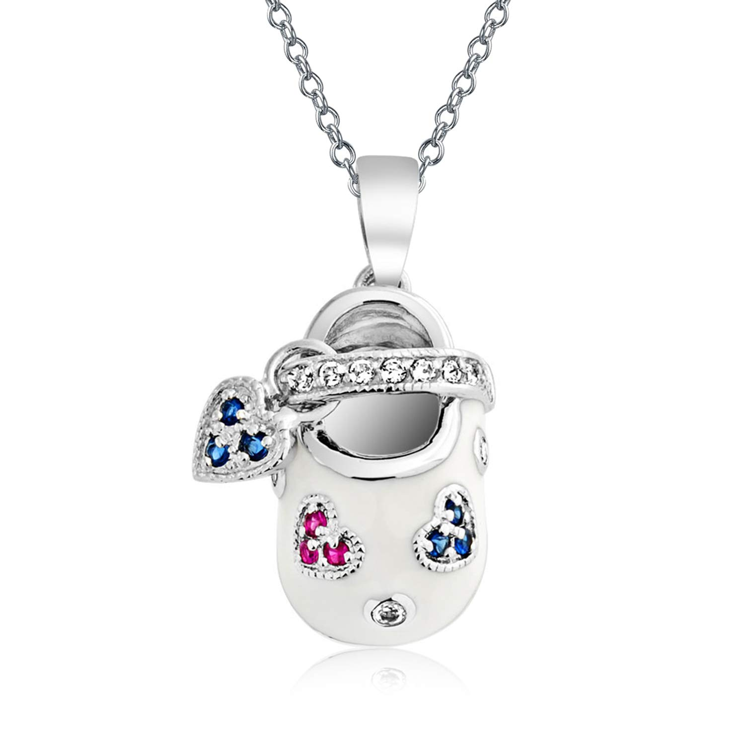 Engravable Baby Shoe Charm Pendant Necklace Gift For New Mother Women White Red Blue CZ Heart Engravable Sterling Silver