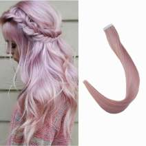 Full Shine Tape In Real Hair Extensions 20 Inch Remy Human Hair For Women Fashion Lilac Pink Color Glue On Hair Tape Hair Extensions 10pcs 25 Gram Per Set Long Straight Hair