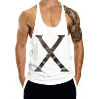 InleaderAesthetics Men's Gym Bodybulding Stringer Y-Back Fitness Muscle Sleeveless Cotton X Logo Workout Tank Top Vest