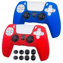 Silicone Case for Playstation 5 - PS5 Controller Grip Anti-Slip Cover Protector Case for PlayStation5, PS5 Digital Edition - 2 Pack PS5 Controller Skins - 8 x PS5 Thumb Grips - Blue & Red