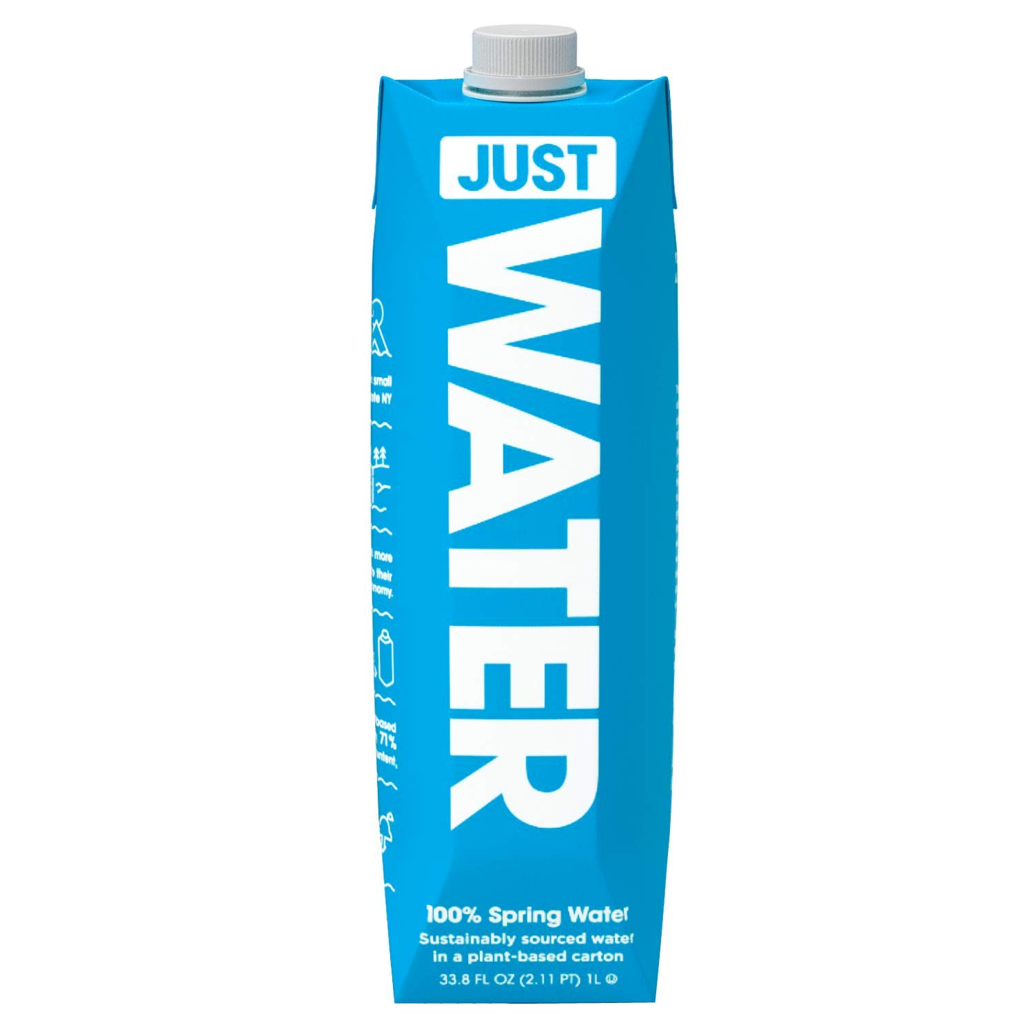 JUST Water, Premium Pure Still Spring Water in an Eco-Friendly BPA Free Plant-Based Bottle | Naturally Alkaline, High 8.0 pH | Fully Recyclable Boxed Water Carton, 1 L / 33.8 oz (Pack of 12)