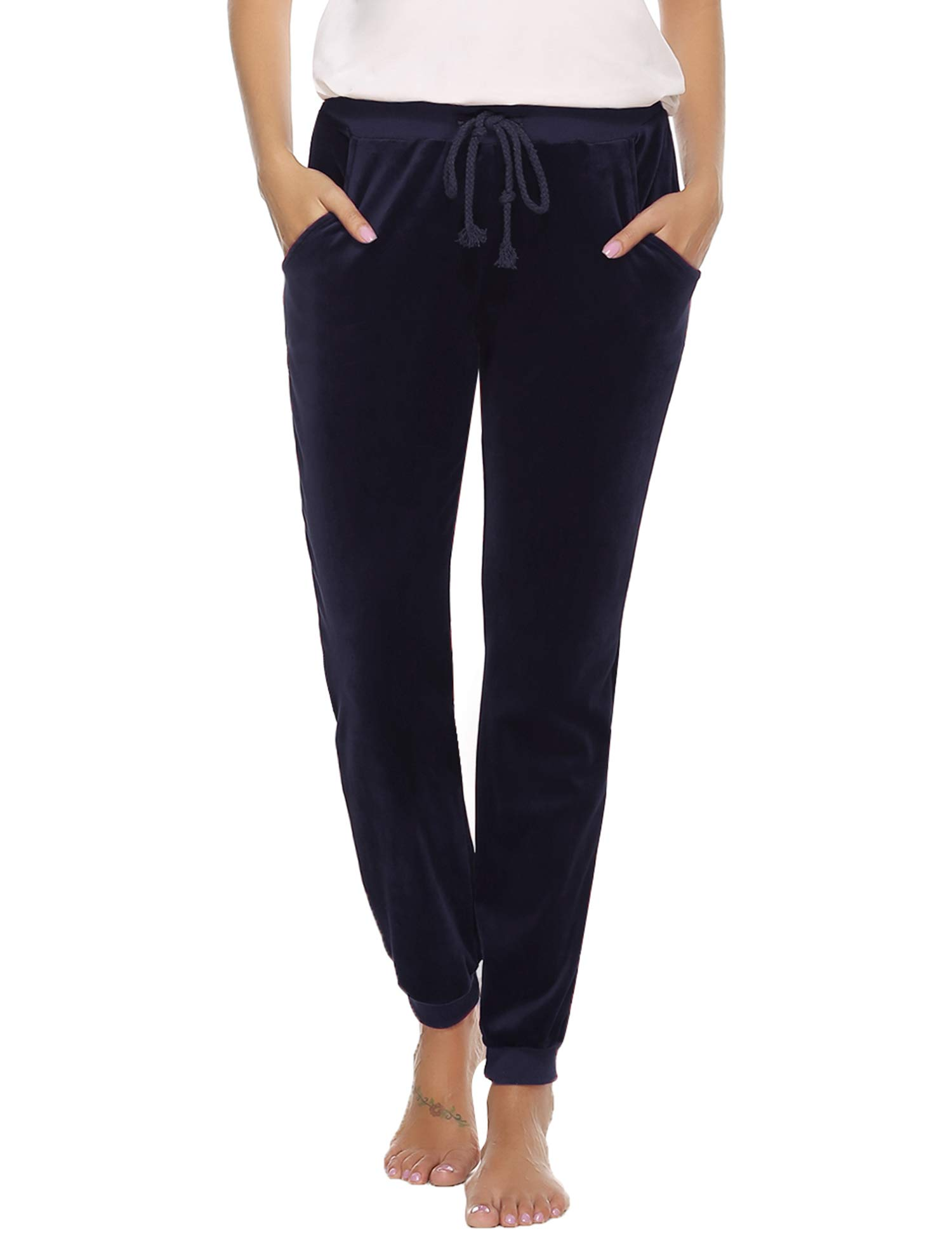 Abollria Women's Drawstring Waist Jogger Solid Velour Sweatpants with Pocket