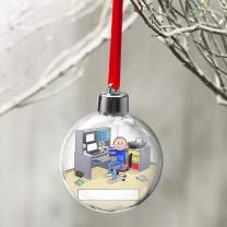 PrintedPerfection.com Personalized Friendly Folks Cartoon Globe Christmas Ornament: Computer Lover, Freelancer, Website Owner, IT, Tech Support - Male