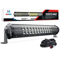 MICTUNING Magical M2 Aerodynamic 19 Inch 108W LED Light Bar - Dual Row Off Road Driving Light Combo Work Light with Wiring Harness and Side Bottom Brackets, Patent Pending