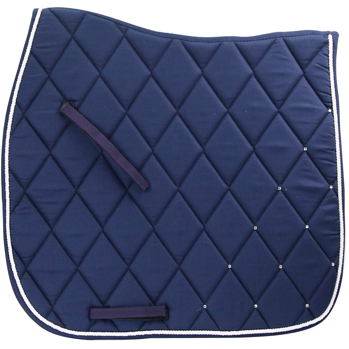 Navy Blue Pad with White cord Country Pride Dressage Saddle Pad with Rhinestones Spine measures 23 inch; Drop measure 22.5 inches
