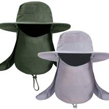 Fishing Bucket Hat for Men, Wide Brim UV Protection Sun Hat Waterproof Breathable Boonie Hat with Face Mask & Neck Flap