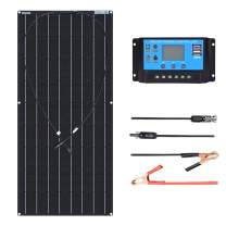 XINPUGUANG 100W Flexible Solar Panel 12V Monocrystaillne Solar Kits 10A Charge Controller Extension Cable for Battery RV Trailer Boat Cabin Caravan Truck (100W Solar Kit)