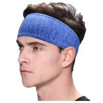 Exrebon Sports Headbands Elastic Non-Slip Fabric Sweatbands Comfort Super Absorbent Durable Head Band for Outdoor Sports Workout Yoga Running Fitness