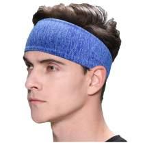 Exrebon Sports Headbands Elastic Non-Slip Fabric Sweatbands Comfort Super Absorbent Durable Head Band for Outdoor Sports Workout Yoga Running Fitness
