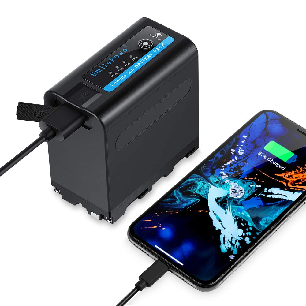 SmilePowo Camcorder Battery for Sony NP-F980 Pro NP-F970 NP-F550 NP-F960 F950 F975 F930 F770 F750 DCR DSR HDR FDR HVR HVL,Multifunctional Portable Charger Power Bank for Cell Phone Tablet