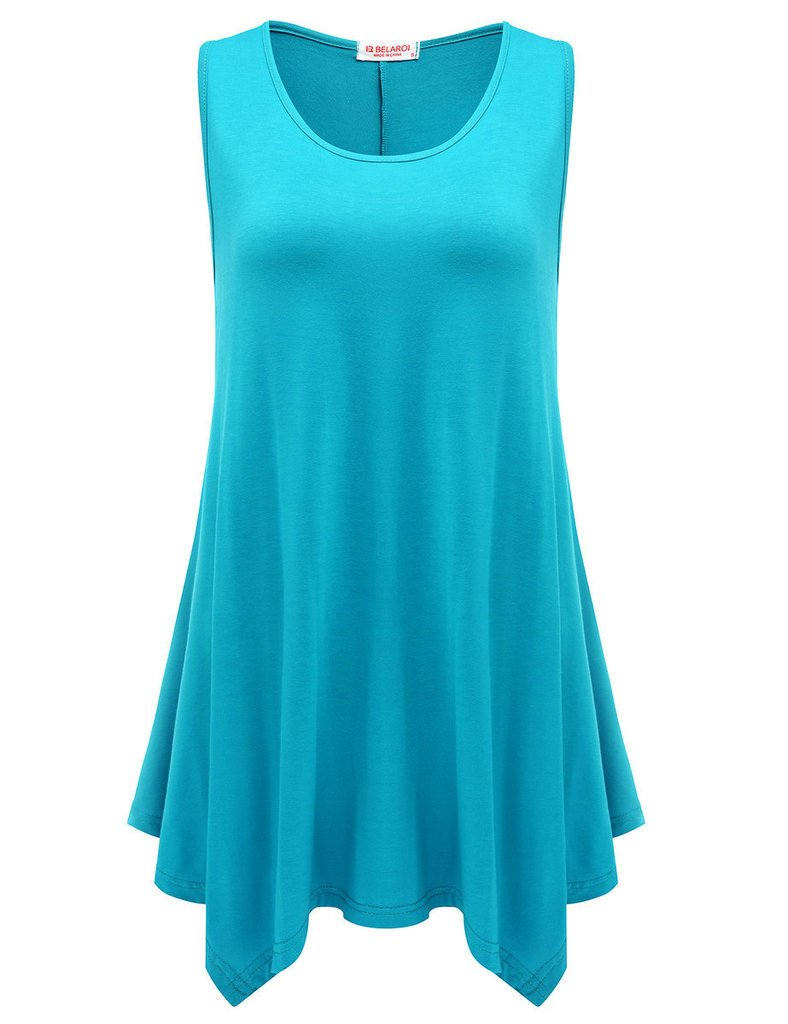 BELAROI Womens Plus Size Sleeveless Comfy Tunic Tank Top
