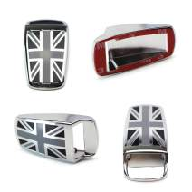iJDMTOY (2) Black UK Union Jack Style Window Wiper Washer Spray Nozzle Covers Compatible With All MINI Cooper Models