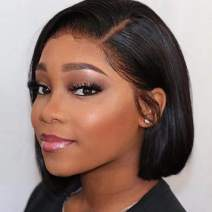 Abijale Hair Short Bob Wigs Straight Lace Front wigs Human Hair For Black Women Brazilian Virgin Hair Pre Plucked With Baby Hair Natural Hairline (12 inch, side part)