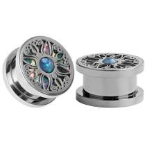 TBOSEN Cute Stainless Steel Silver Tunnels Abalone Shell Carved Ear Expanders Taper Stretchers Piercings Body Jewelry