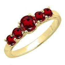 Dazzlingrock Collection 14K Round 3.8 MM Each Gemstone Ladies 5 Stone Anniversary Wedding Ring Band, Yellow Gold