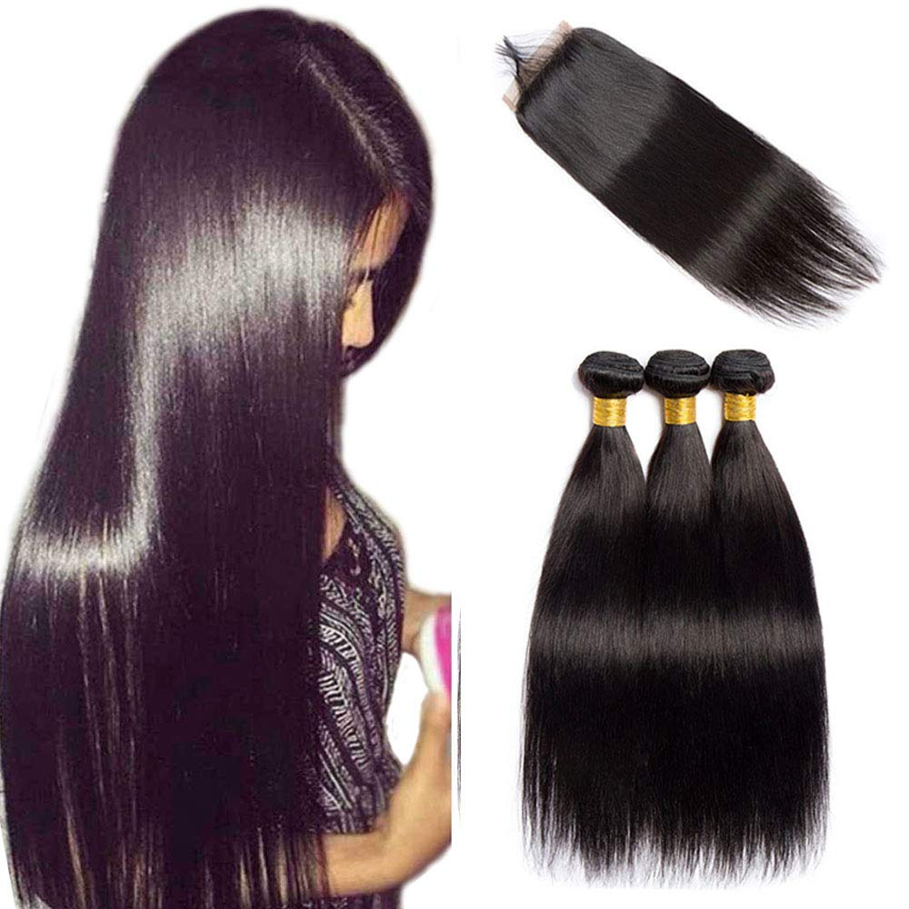 VIPbeauty Brazilian Straight Human Hair Bundles with Closure 4x4 Free Part Lace Closure with Baby Hair Unprocessed Virgin Hair Weft for Black Women (20 22 24+18, Nature Color)