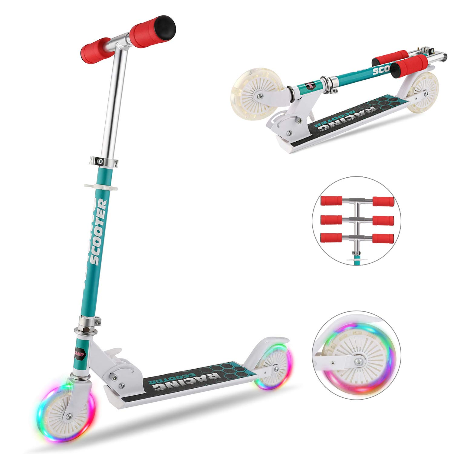 Hikole Scooter for Kids with LED Light Up Wheels, Adjustable Height Kick Scooters for Boys and Girls, Rear Fender Break|5lb Lightweight Folding Kids Scooter, 110lb Weight Capacity