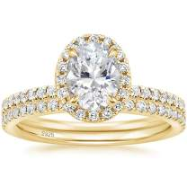 EAMTI 1.25CT 925 Sterling Silver Cubic Zirconia Bridal Rings Sets Oval Cut CZ Engagement Rings Wedding Band for Women Size 4-10