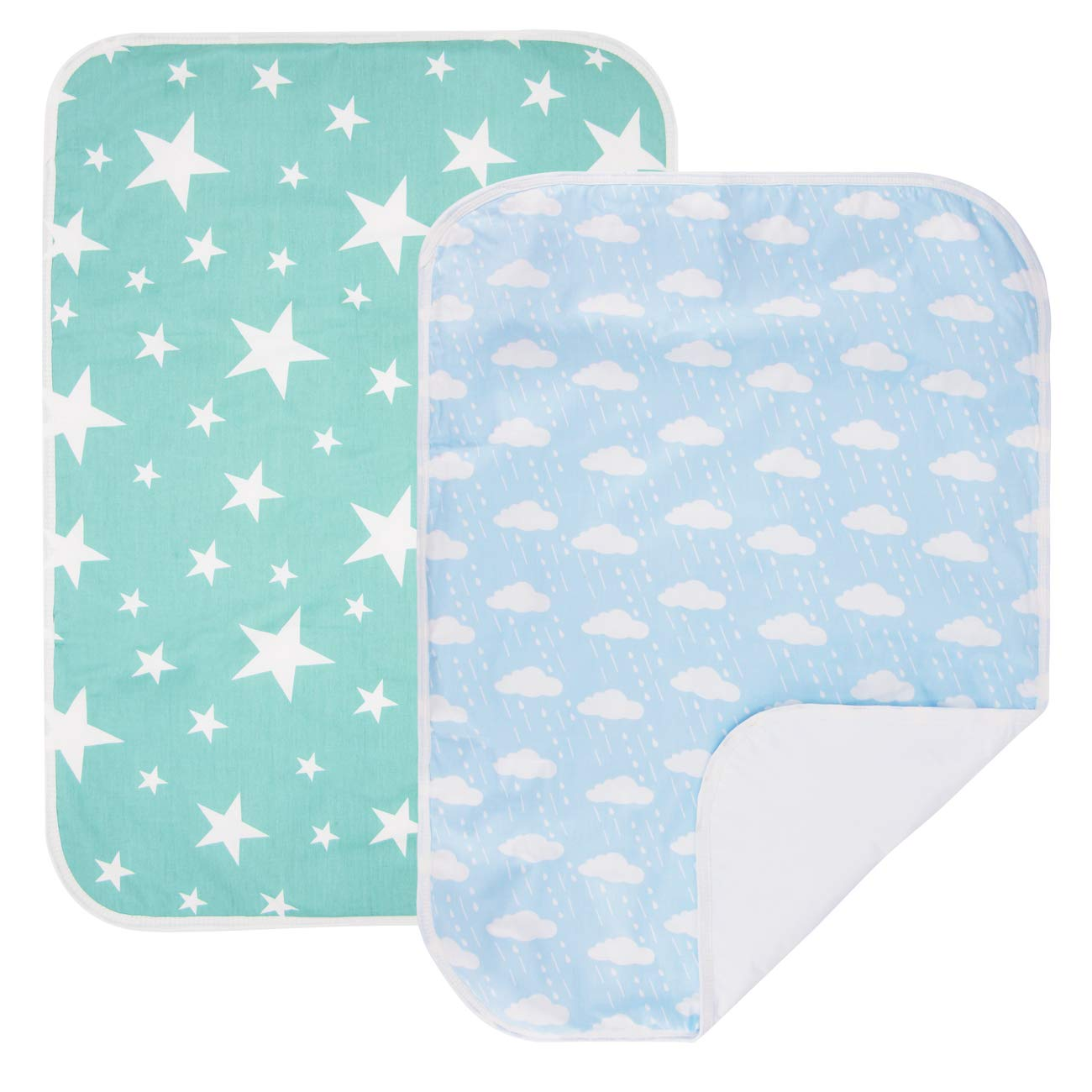 PEKITAS 2 Pack Waterproof Diaper Changing Pads Travel Friendly Super Soft Fabric Size 19.5 x 27.5 inches (Medium,0-1 Year),Sky Blue Series