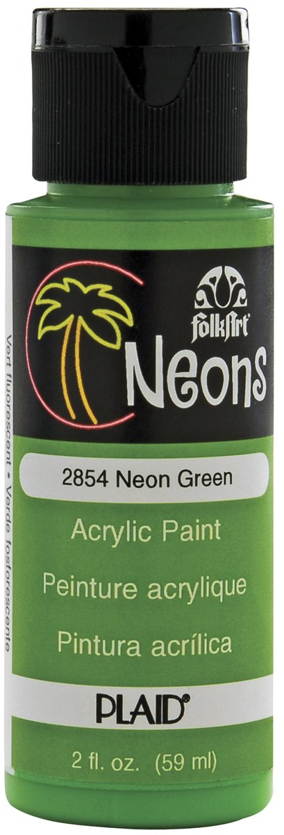 FolkArt Neon Acrylic Paint in Assorted Colors (2 Ounce), 2854 Neon Green