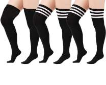 Zando Women Plus Size Thigh High Stockings Thin Over the Knee Tube Socks Long Sport Tights Striped Leg Warmers Sock
