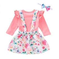 Infant Toddler Baby Girl Clothes Pink Ruffle Sleeve Romper + Floral Skirt Dress + Bow Headband 3Pcs Outfits Set