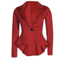 Cekaso Women's Long Sleeve Blazer Single Button Front Plain Peplum Frill Blazer Coat