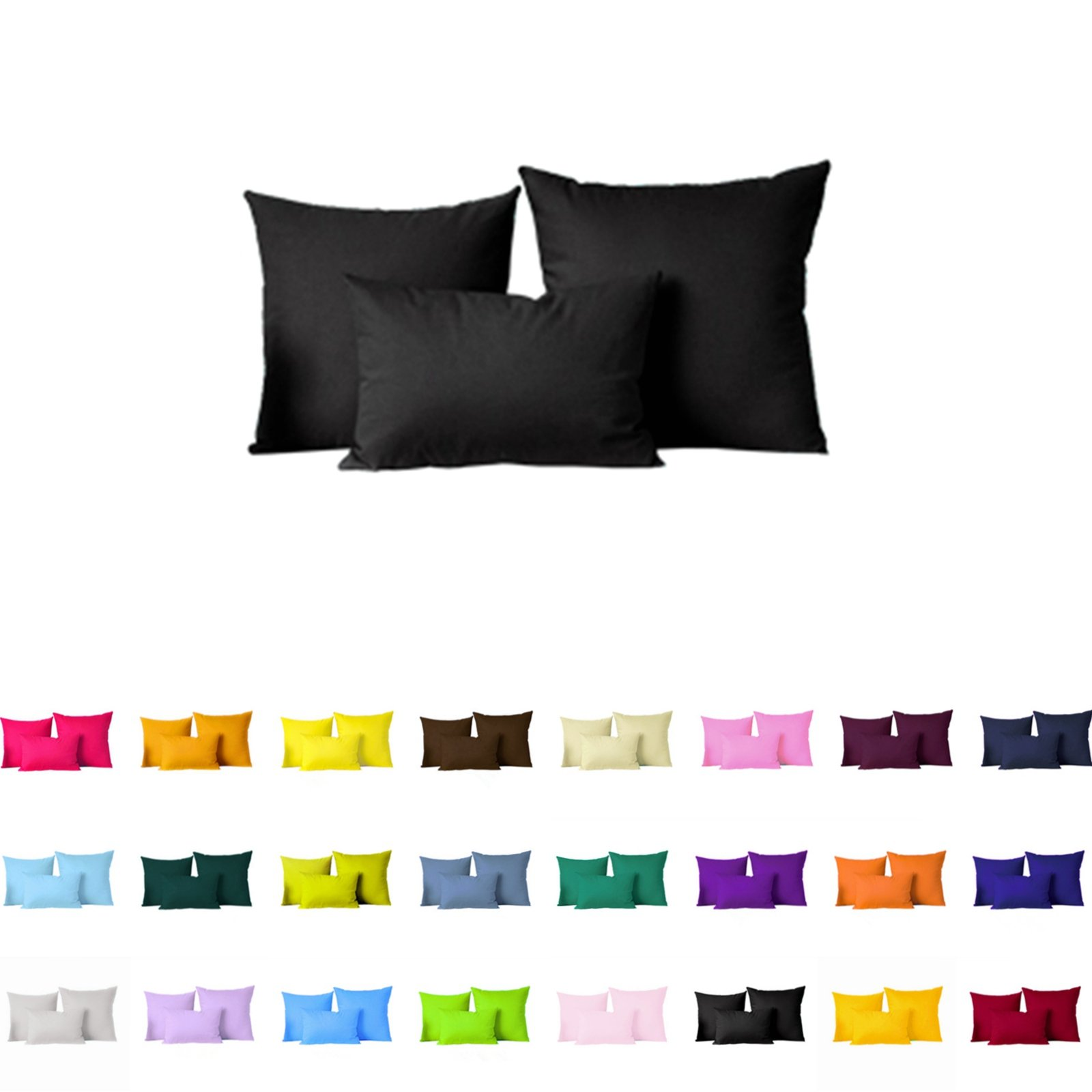 "Pair(2Pc) Solid Color Pillow Cover/Cushion Case (24""x24"", Black)"