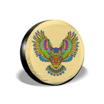 Owl Coloring Spare Tire Cover Waterproof Tyre Cover Fit for Trailer, RV, SUV and Many Vehicle 14 Inch
