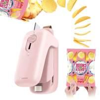 Bag Sealer, Portable Mini Sealer for Snack Bags 2 in 1 Smart Bag Sealer and Cutter Handheld Heat Sealer Stick to Refrigerator, Quick Seal for Plastic Bags Food Storage Snack Fresh Bag Sealer (Pink)