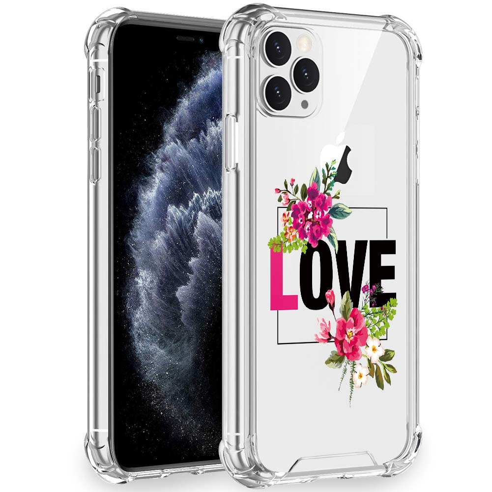 Artemiss iPhone 11 Pro Case 2019,Shockproof Series Hard PC+ TPU Transparent Bumper Protective Case for iPhone 11 Pro 5.8 Inch -(Love)