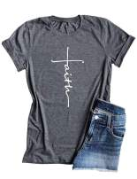 Qrupoad Women V Neck Faith T-Shirt Christian Inspirational Shirt Graphic Tees for Religious Gift