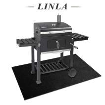 LINLA Non-Slip BBQ Grill Protective Mat, Reusable Outdoor Grill Floor Mat, Heavy Duty Durable Grill Mat for Gas or Electric Grill 39x57 inches, Black