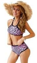 Longwu Women's Leopard Print Bandeau Bikini Set Halter Straps Top High Waisted Swimsuit Bathing Suit