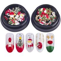 Christmas Nails Decorations 3D Metallic Nail Art Glitter Rhinestones Christmas Santa Reindeer Snowman Nail Supplies Jewelry,20 Pcs