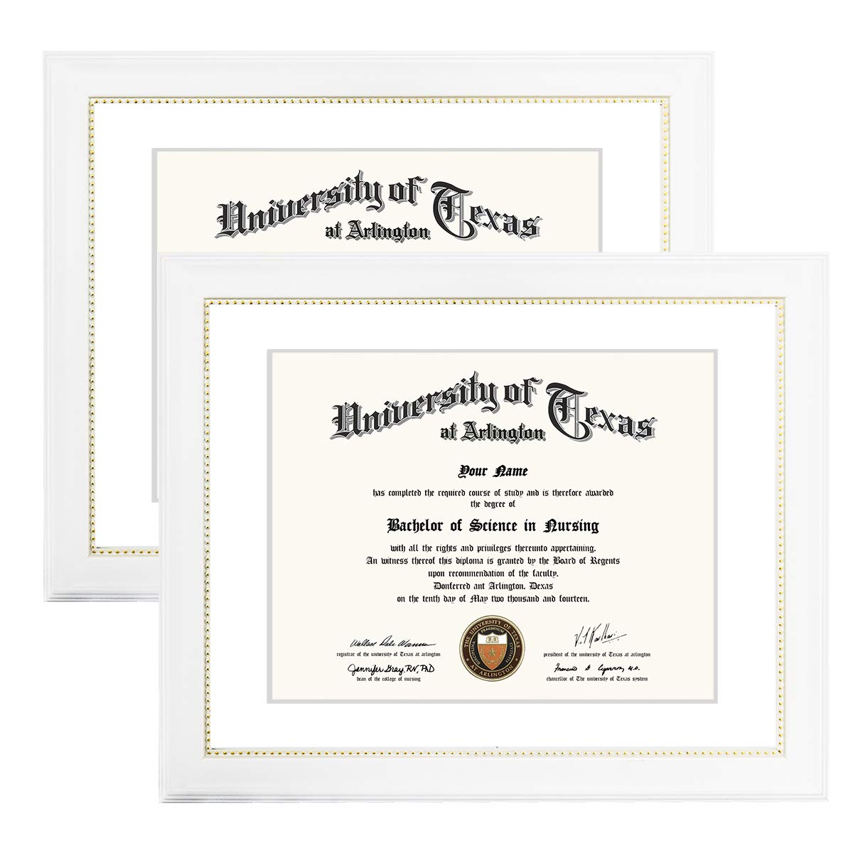 GraduationMall 11x14 Diploma Frame for 8.5x11 Document/Certificate with White Over Gold Double Mat Real Glass White with Gold Beading,2-Pack