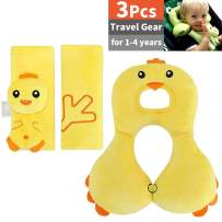 3 Packs, Infant Travel Pillow with 2 Car Seat Belt Covers, Baby Head Support Neck Relief Neck and Chin Support, Seat Belt Shoulder Strap Covers Harness Pad, Soft Cotton, for 1-4 Year Old, Yellow
