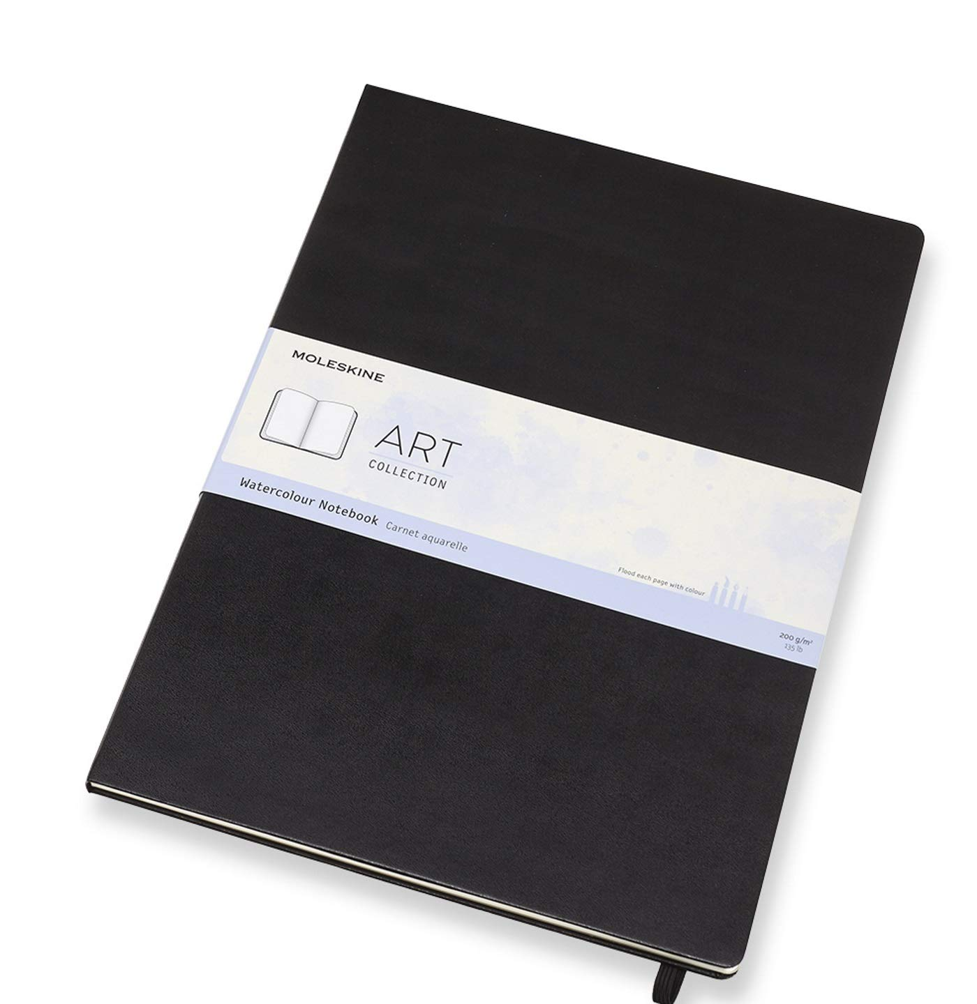 """Moleskine Art Watercolor Notebook, Hard Cover, A3 (11.75"""" x 16.5"""") Plain/Blank, Black, 60 Pages"""