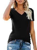 LOVFEE Women's Slim Fit Solid Color Short Sleeve Tee Tops Basic Cotton t-Shirt