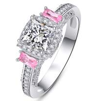 AVECON 925 Sterling Silver Created Pink Mystic Topaz Women's Engagement Ring Princess Cut Filled Wide Bands Women's Solitaire Ring (Available 5,6,7,8,9)