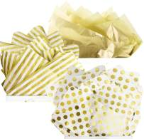 UNIQOOO 60Sheets Assorted Metallic Gold Foil Gift Tissue Paper Bulk, Recyclable Durable, for Gift Bags Box,Gift Wrapping Craft, Wedding Birthday Party Favors, Shredded Fill, Piñata,Confetti 20X26Inch