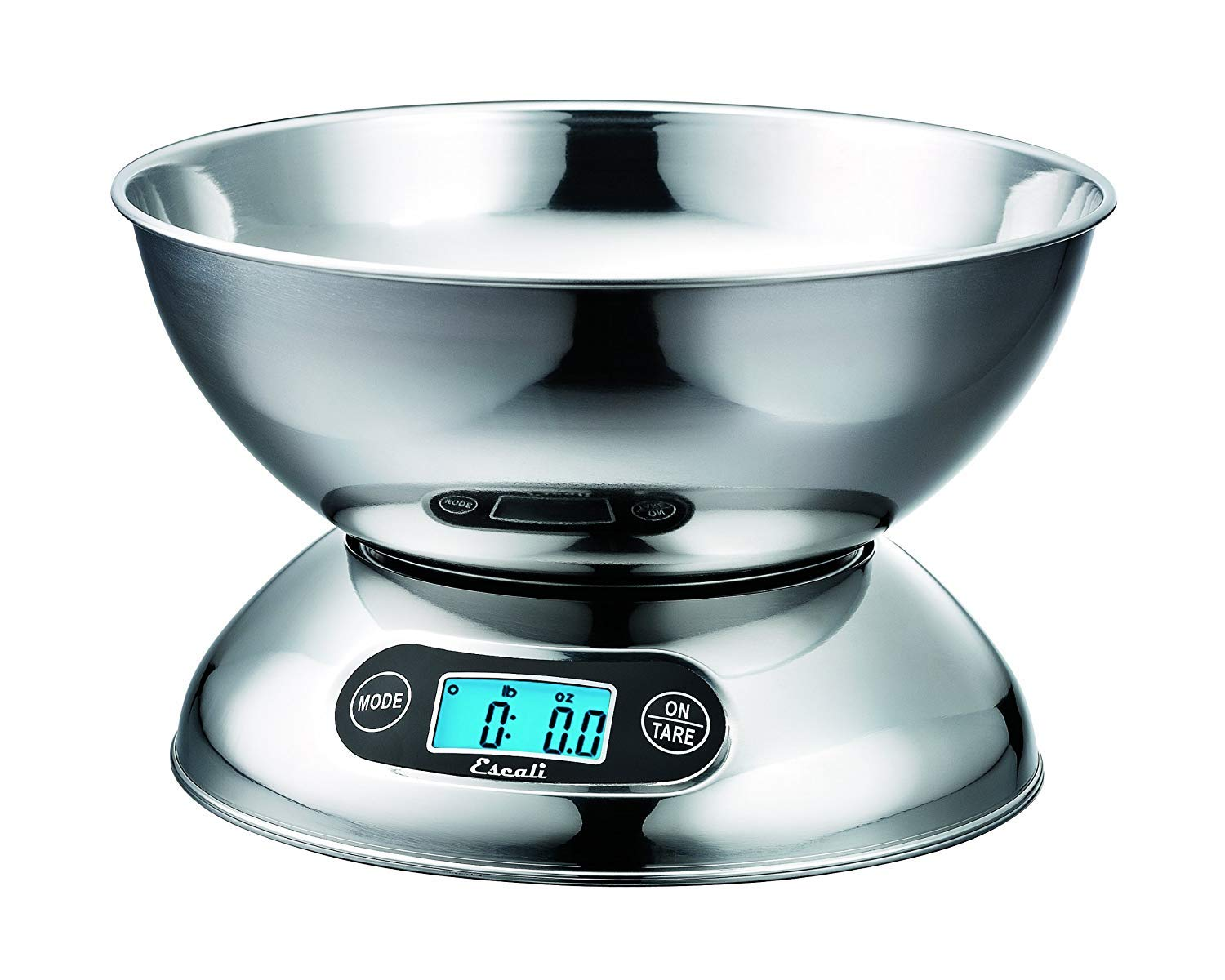 Escali Rondo R115 Contemporary Kitchen Bowl Scale 2-Quart, Dishwasher Safe Bowl, Measures Liquids and Dray Ingredients, LCD Digital Display, 11lb Capacity, Stainless Steel