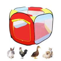 kathson Portable Chicken Run Coop, Outdoor Foldable Pop-up Tent Pet Fence Suitable for Chicken Duck Cats Rabbits-Outdoor Pet Enclosure