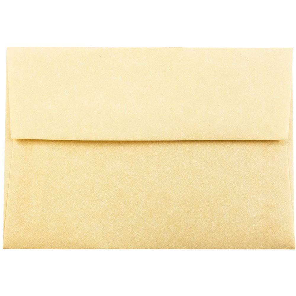 JAM PAPER 4Bar A1 Parchment Invitation Envelopes - 3 5/8 x 5 1/8 - Antique Gold Recycled - 25/Pack