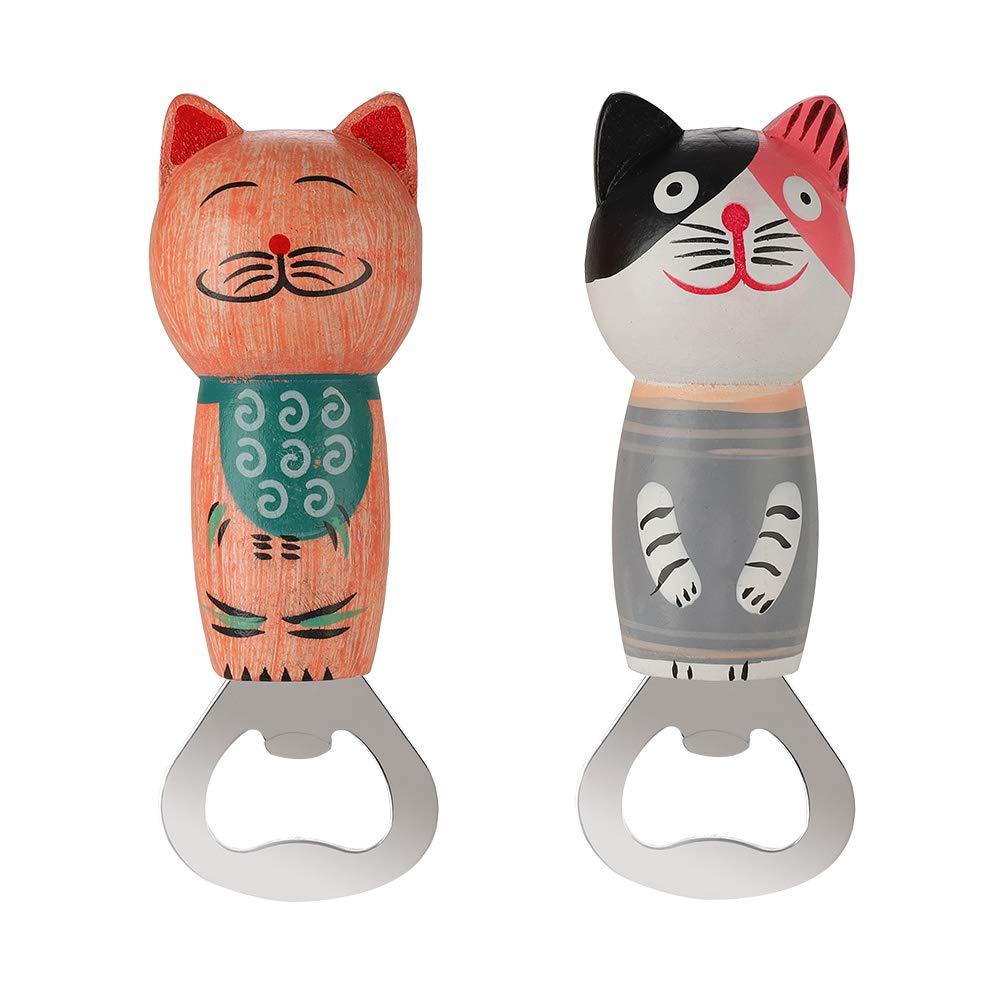 Bottle Opener Stainless Steel Beer Bottle Opener Cute Wooden Cats Opener with Magnet 2pcs
